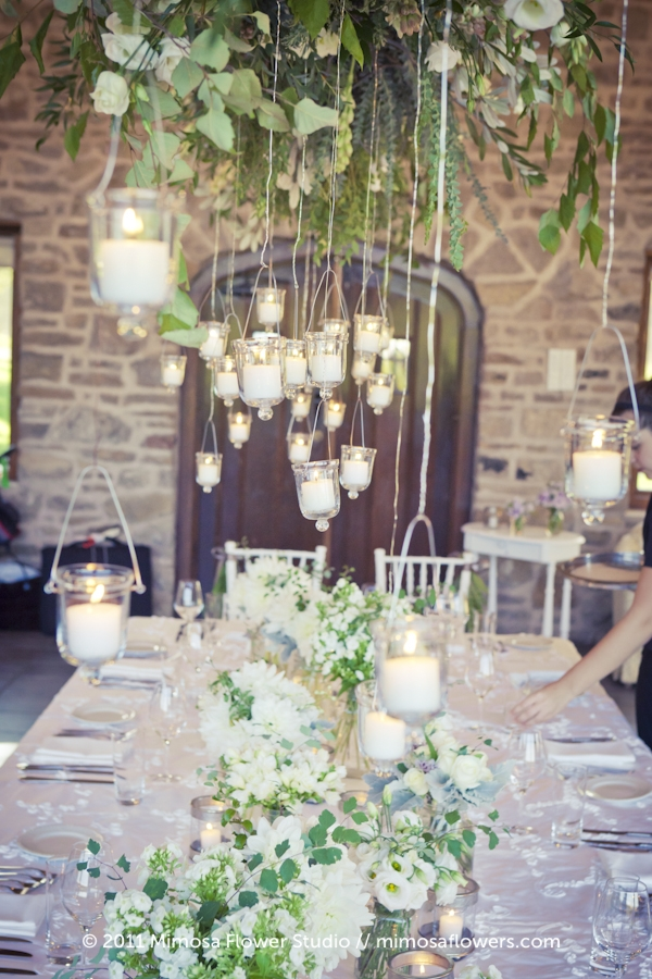 Vineland Estates Head Table at Carriage House with Hanging Glass Lanterns