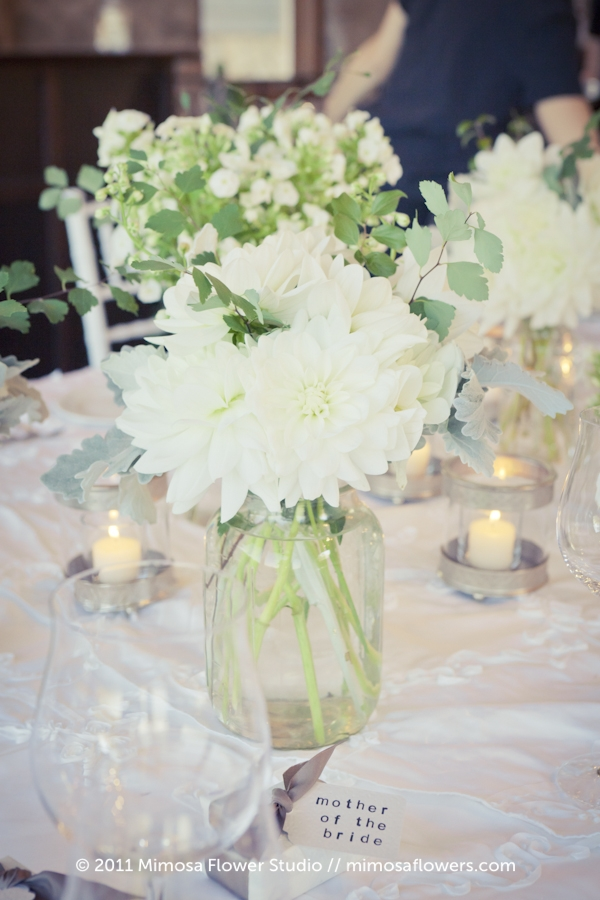 White Dahlia Wedding Reception Flowers at Vineland Estates Winery