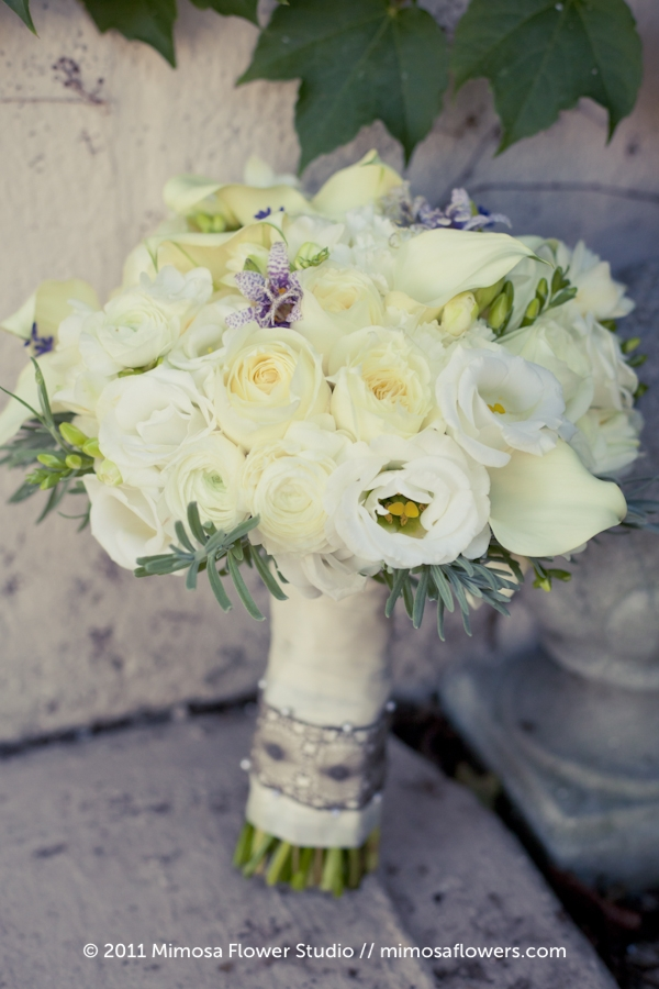 Andrea Roth's White & Lace Bridal Bouquet