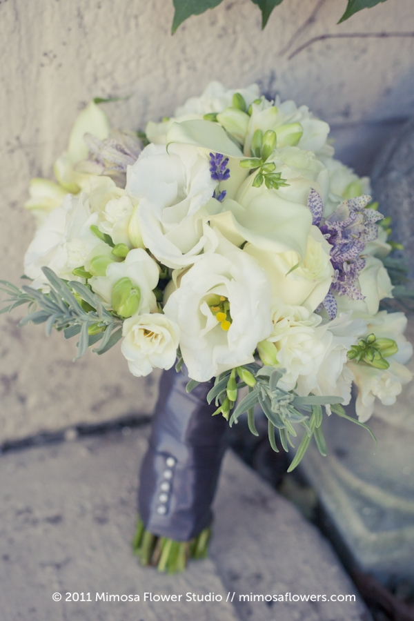 White and Lavender Bridesmaid Bouquet