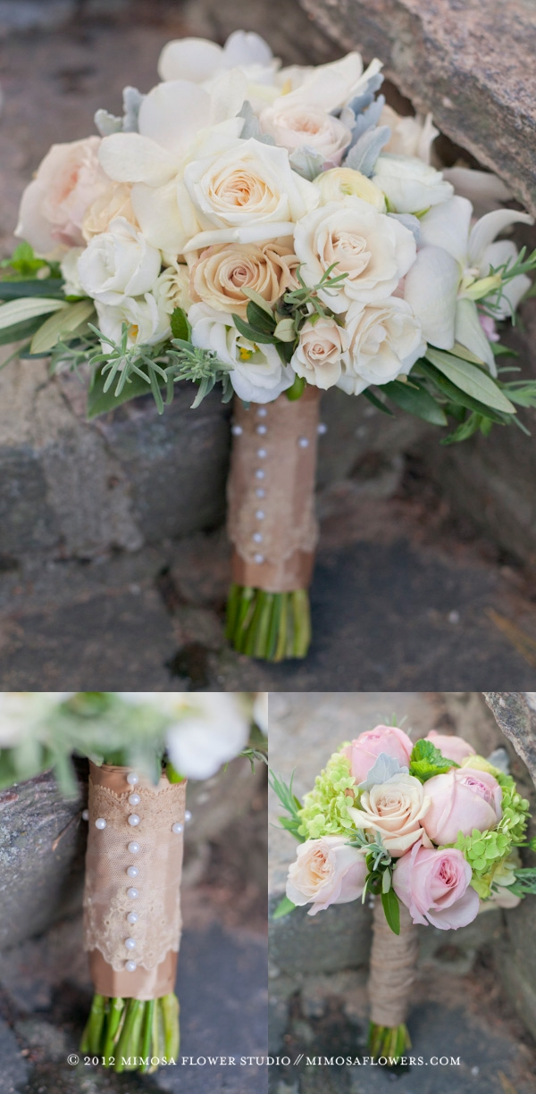 White, Pink and Taupe Bride's Bouquet