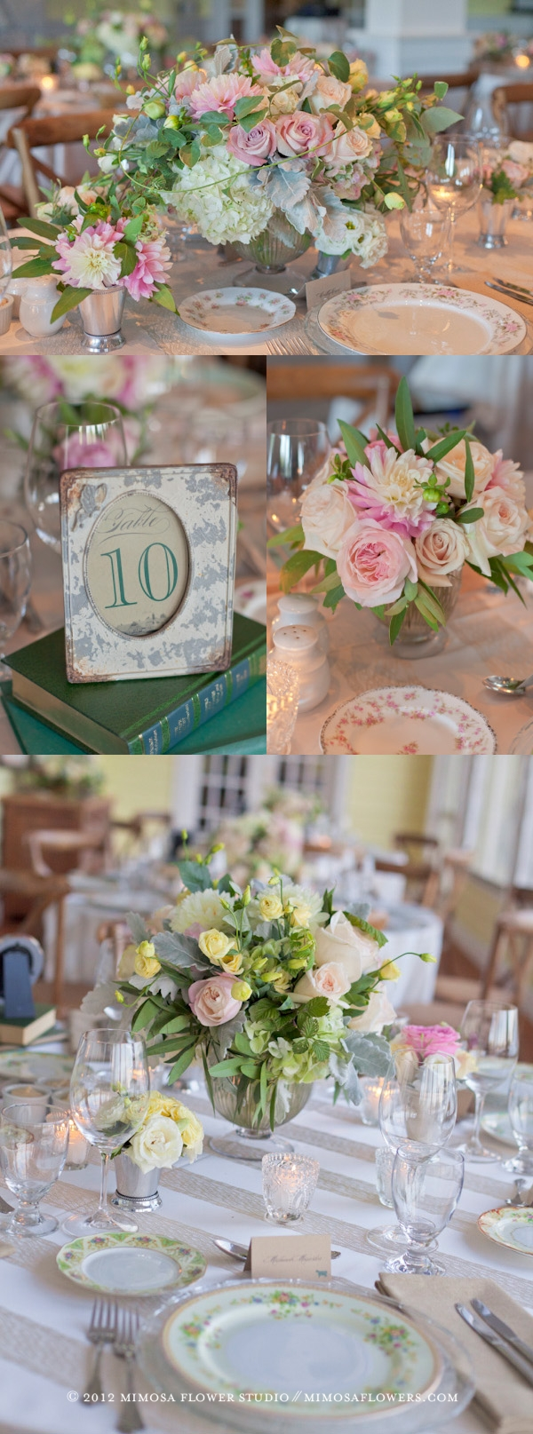 Muskoka Wedding Reception Flowers - Modern Vintage Theme