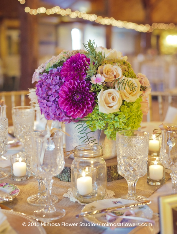 Modern Vintage Wedding Flowers Centrepieces - 3