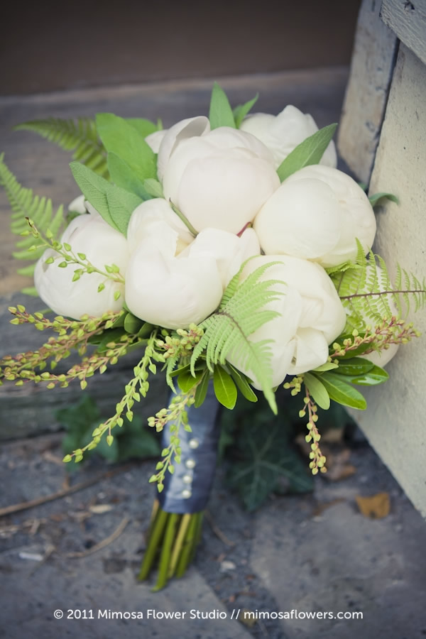 Mimosa Flower Studio - Forest / Green  & White Bride's Bouquet 1