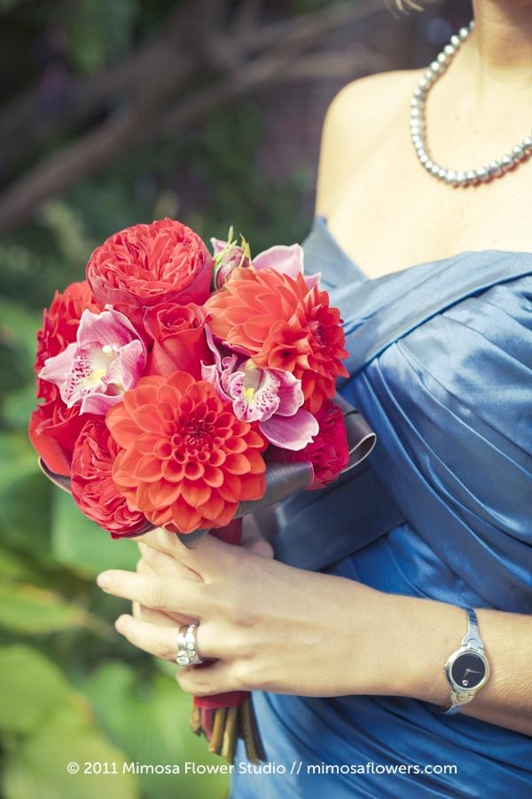 Red, crimson and merlot Bridesmaid's Bouquet - 3