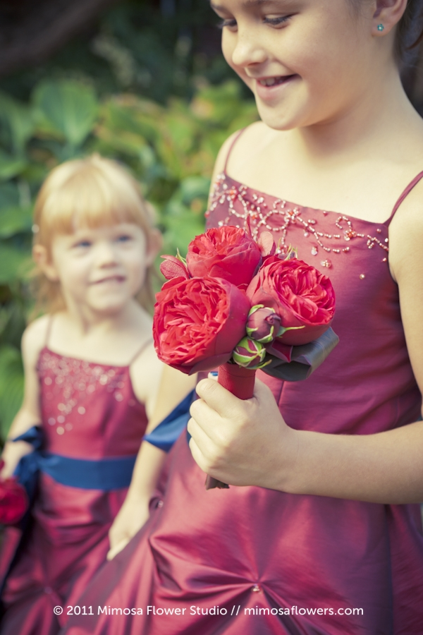 Red flower girl's dress