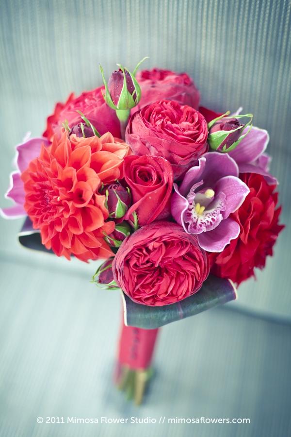 Red, crimson and merlot Bridesmaid's Bouquet - 2