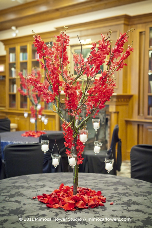 Pillar and Post Library Wedding Reception Flowers - 2