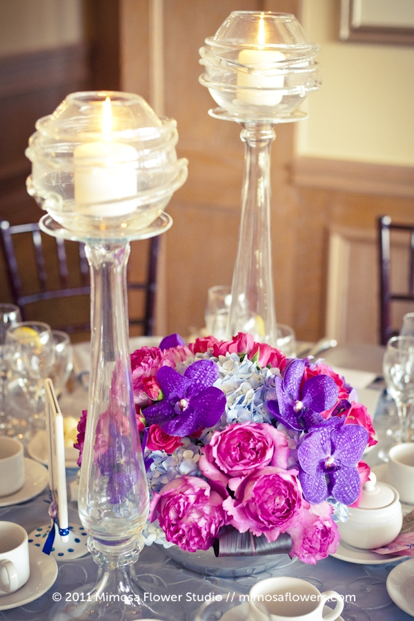 King Valley Golf Club - Wedding Reception Flowers in Pink and Purple