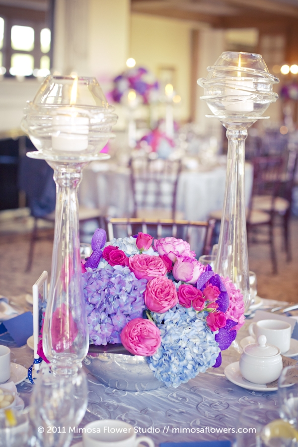 King Valley Golf Club - Wedding Reception Flowers in Pink and Purple 6