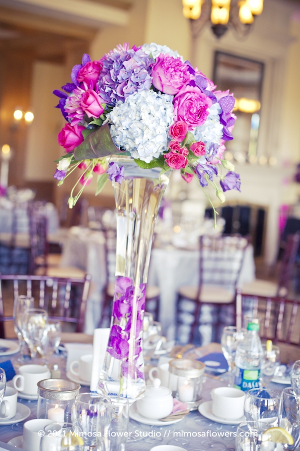 King Valley Golf Club - Wedding Reception Flowers in Pink and Purple 3