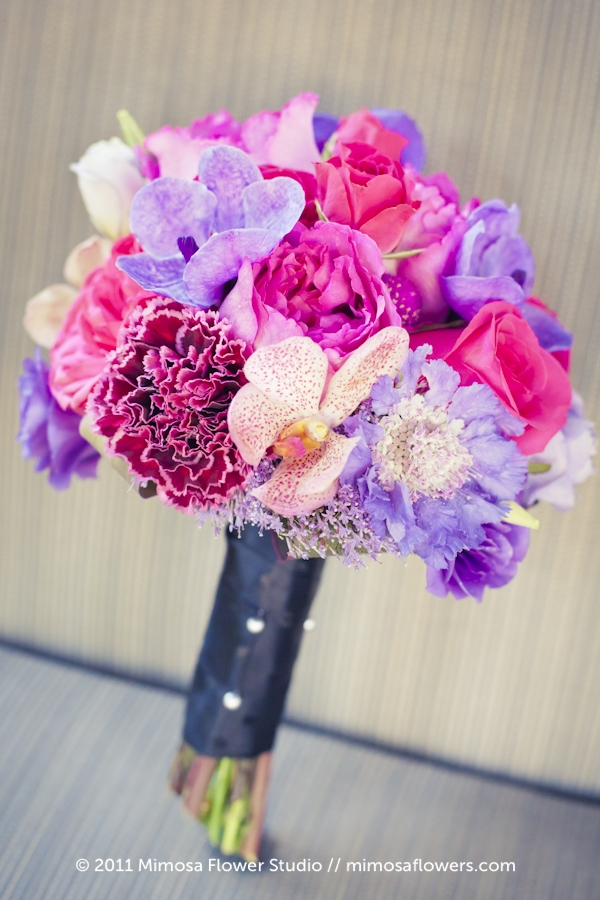 Pink and Purple Bridesmaid's Bouquet 1