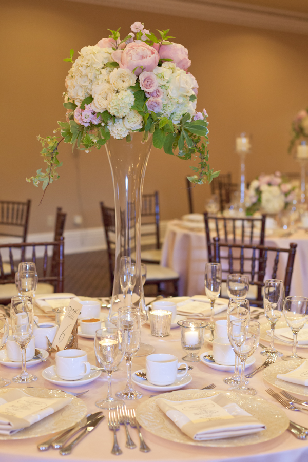 Queen's Landing Wedding - Imperial Ballroom Reception Tall Flowers