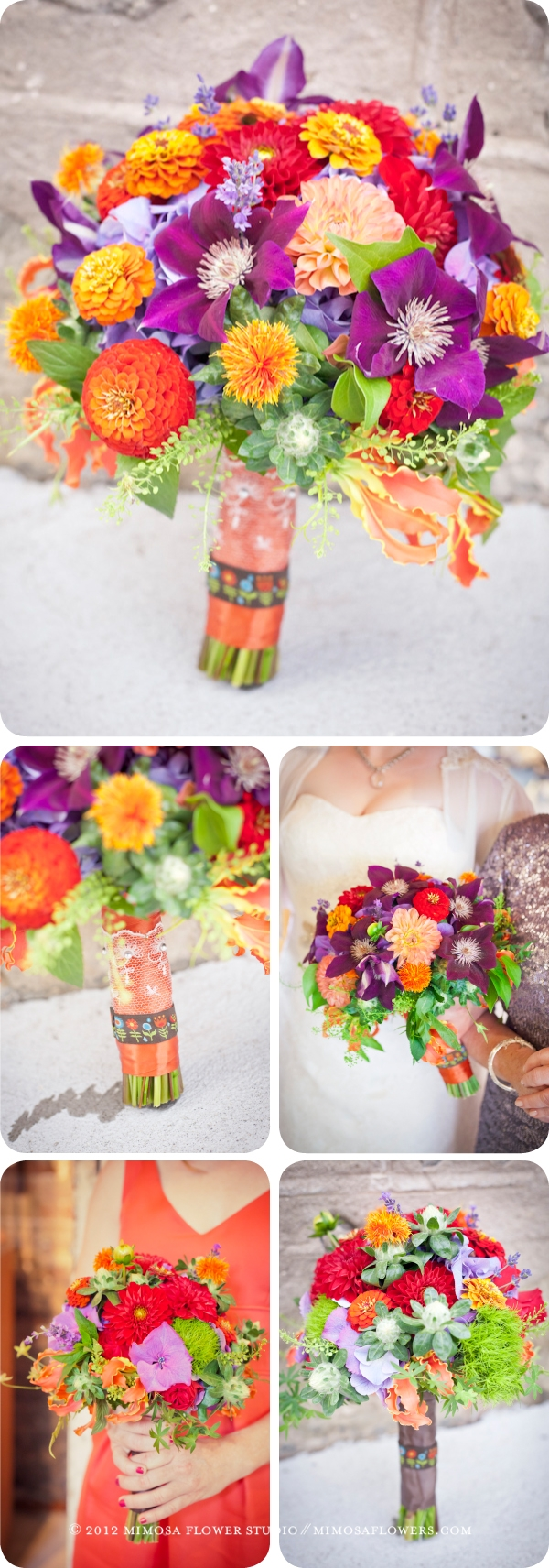 Spring Harvest Bride and Bridesmaid Bouquets in Tangerine, red, purple and yellow