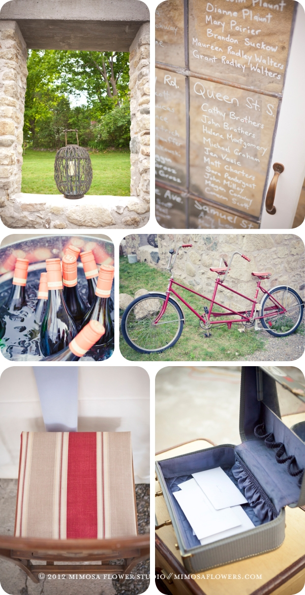 Vintage Details - twiggy lantern, tandem bicycle, suitcases from Hazlitt Vintage Rentals at Alton Mill wedding