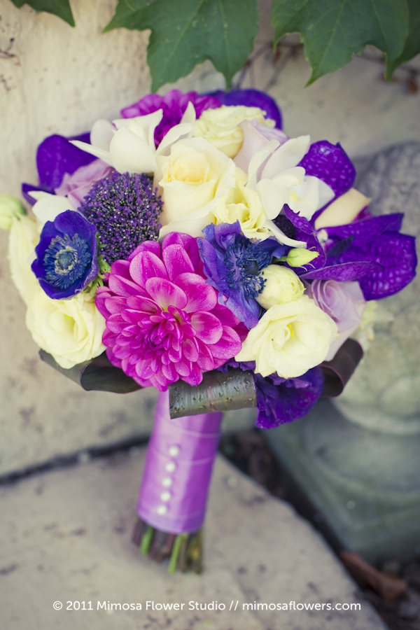 Purple and Pink Bridesmaid's Bouquet - 1