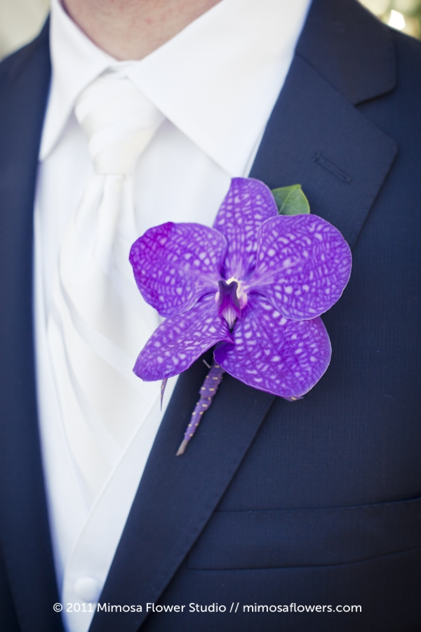 Purple Vanda Orchid as Groom's Boutonniere
