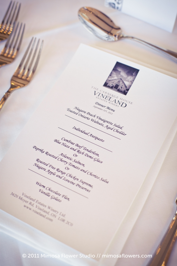 Vineland Estates Winery - Wedding Menu