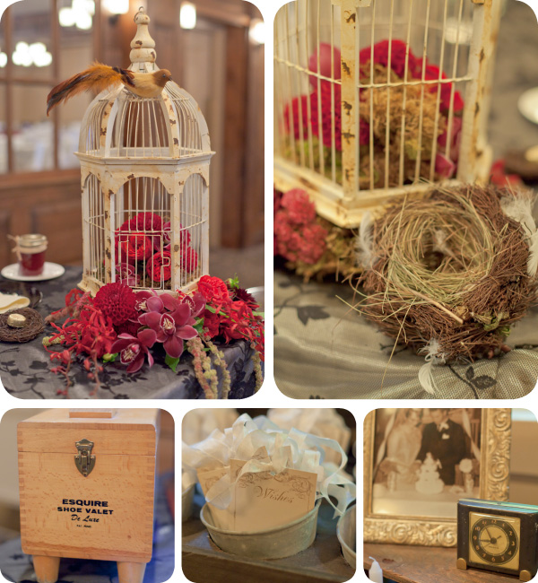 Pillar and Post Wedding Reception with vintage elements from The Warehouse