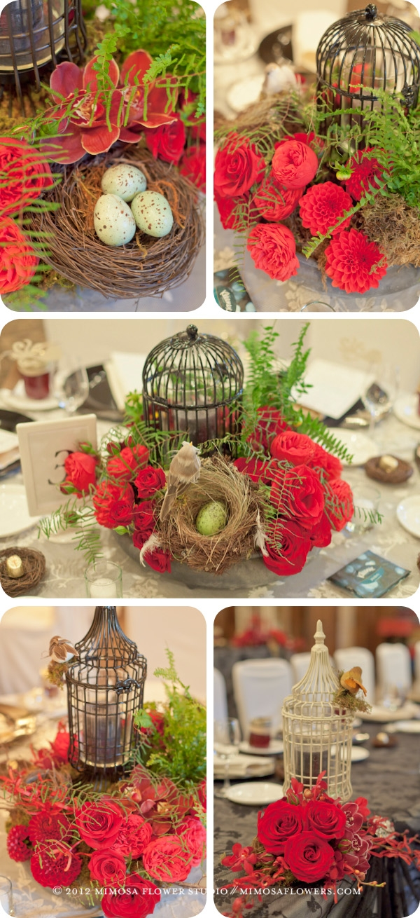 Pillar and Post Wedding Reception with birdcages, bird's nests, black lanterns, candles, flowers and ferns