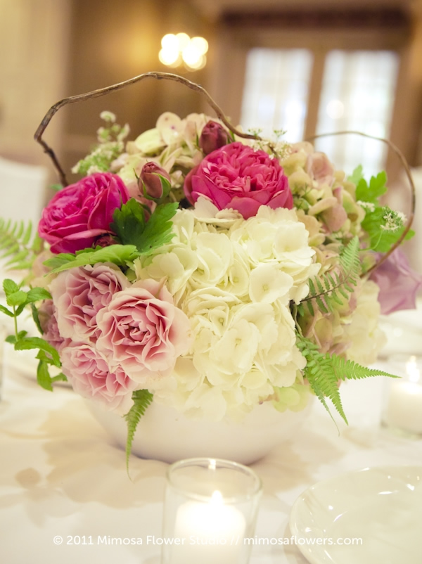 Garden Roses and Curly Willow in Wedding Reception Centrepiece