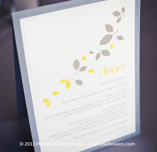 Dinner menu wedding stationery in grey and yellow