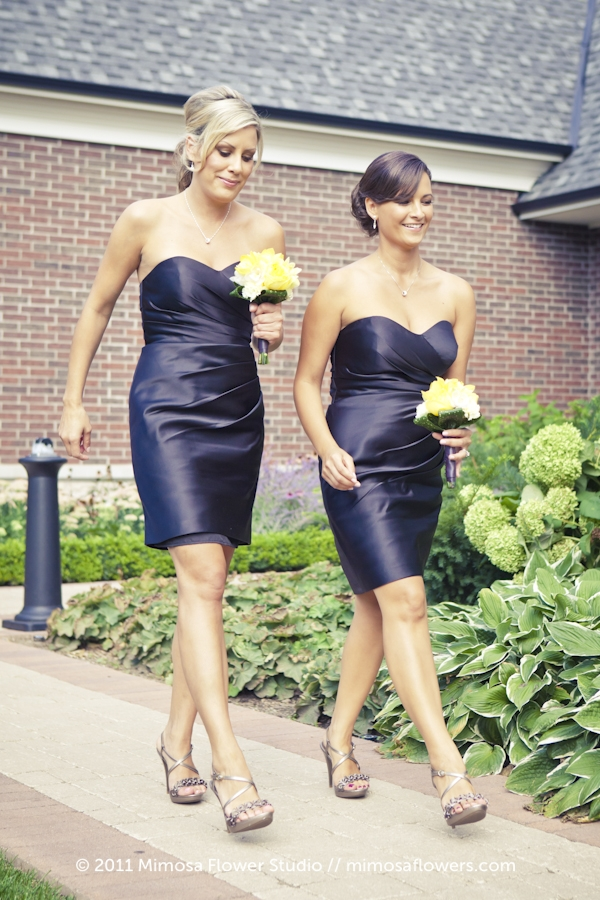 Bridemaid in black dress with yellow and white bouquet - 2