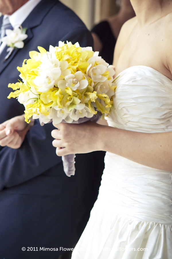 Bride with Yellow and White Bouquet