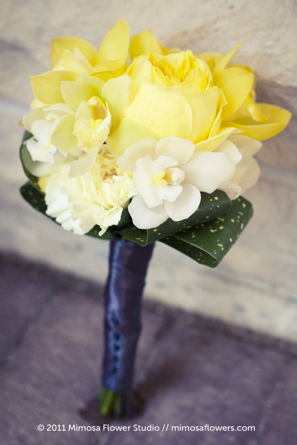 Yellow, white and grey bridesmaids flower bouquet - 1