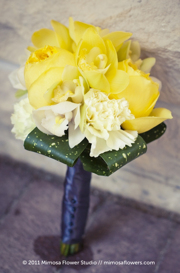 Yellow, white and grey bridesmaids flower bouquet - 2