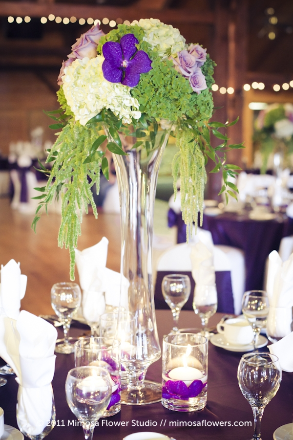 Purple and White Tall Centrepieces at Hernder Estate Winery