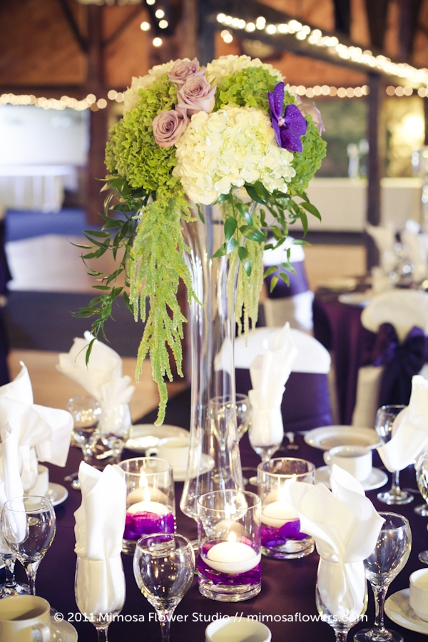 Purple and White Tall Centrepieces at Hernder Estate Winery 3