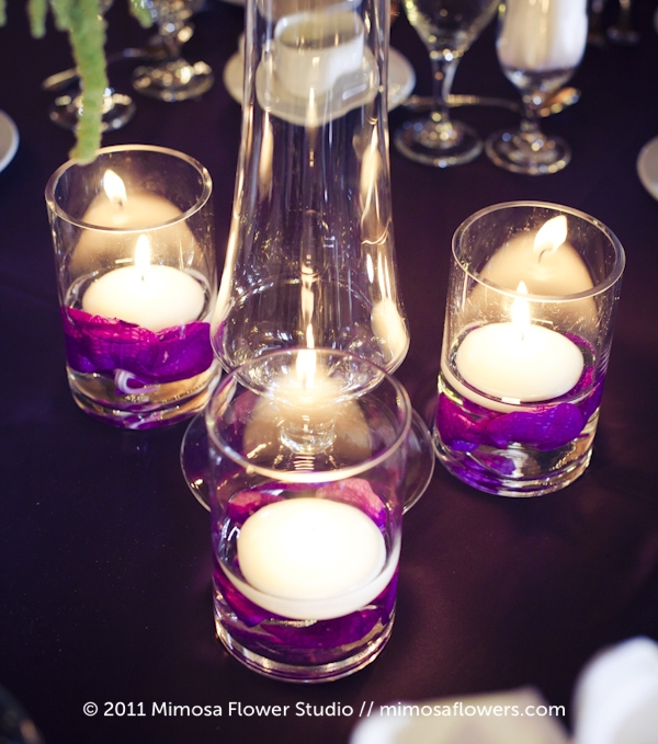 Purple and White Tall Centrepieces at Hernder Estate Winery 4