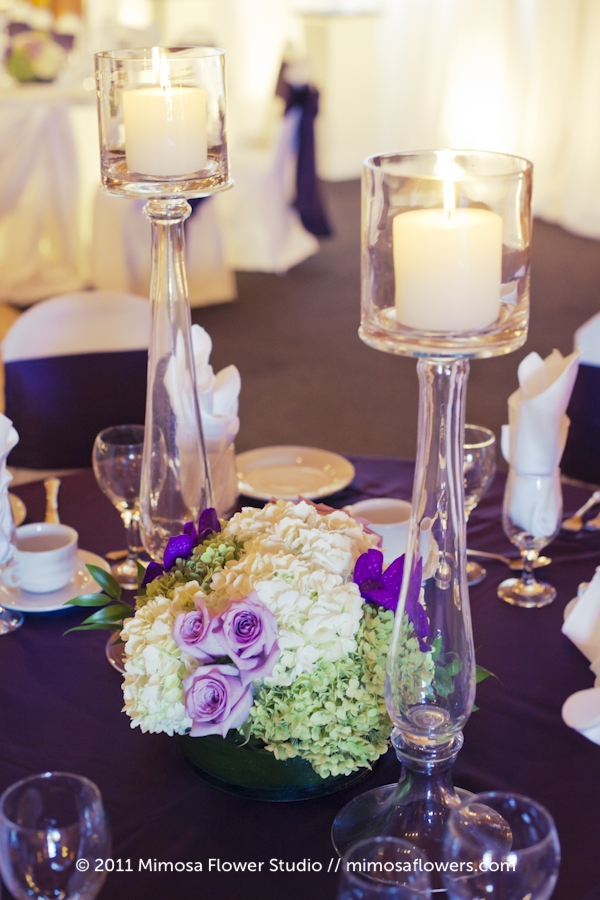 Purple and White Tall Centrepieces at Hernder Estate Winery 2