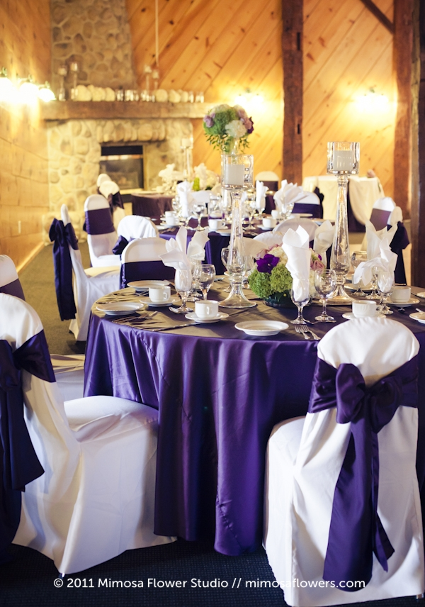 Purple and White Tall Centrepieces at Hernder Estate Winery 7