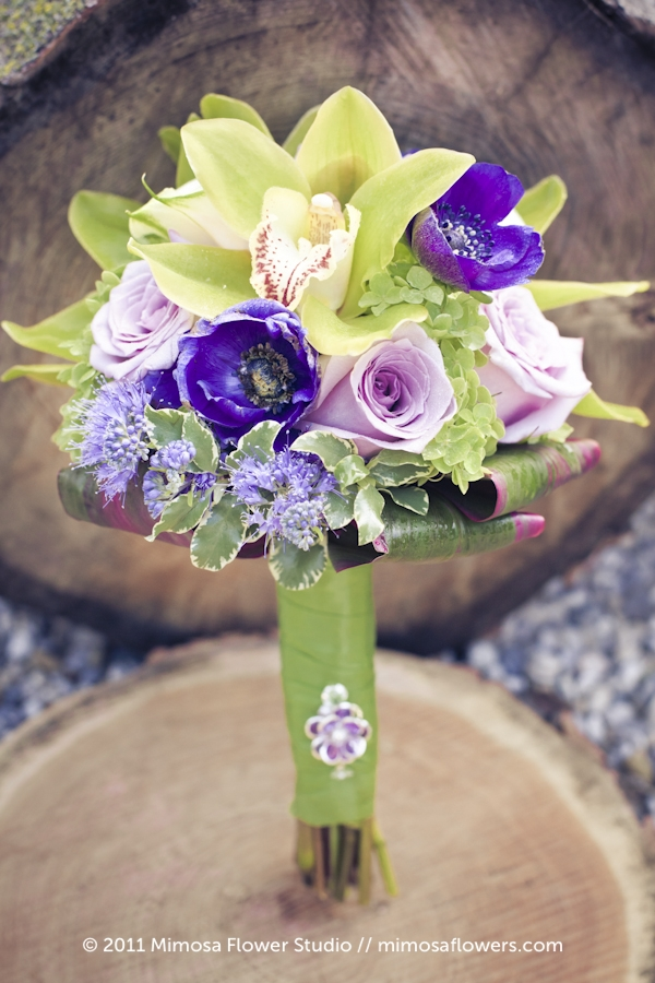 Purple and chartreuse bridesmaid's bouquet