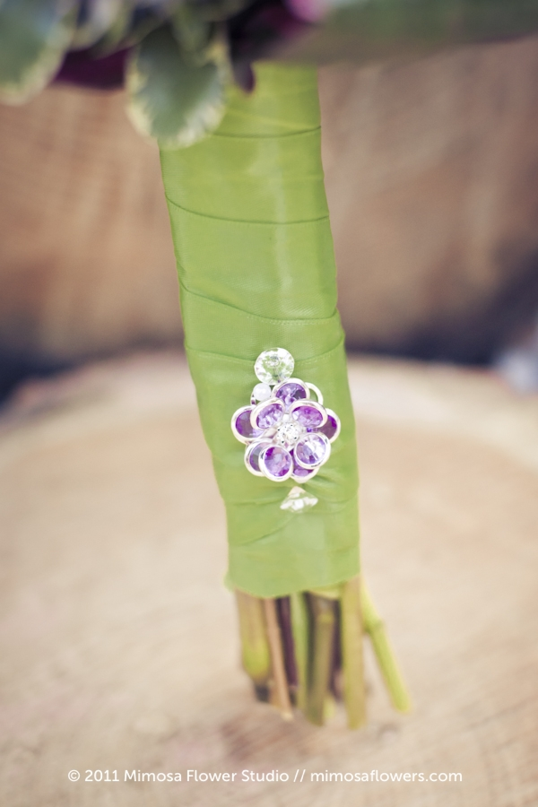 Purple and chartreuse bridesmaid's bouquet - stem closeup
