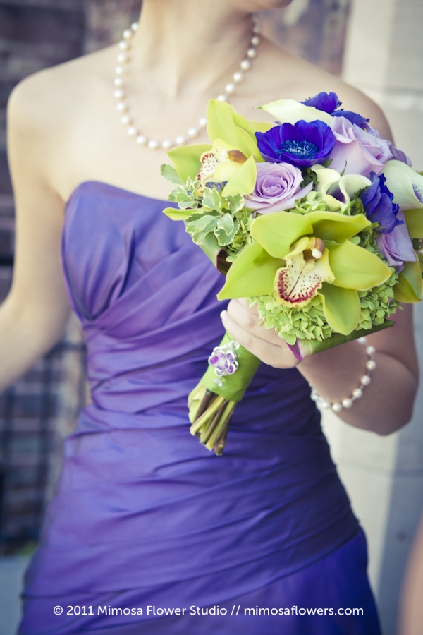 Purple and chartreuse bridesmaid's bouquet 3