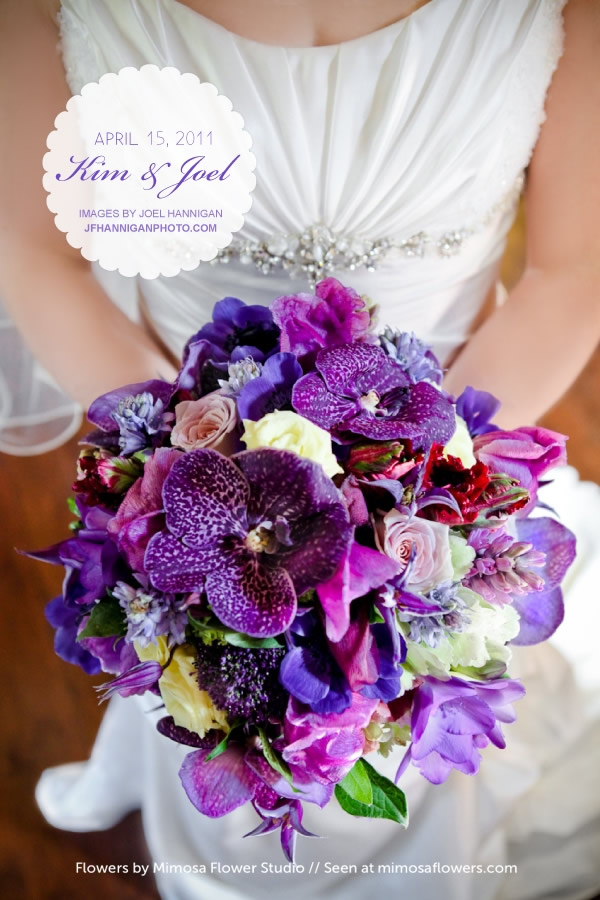 in Kim's delicious bridal bouquet Spring Purple Wedding in Niagara 1
