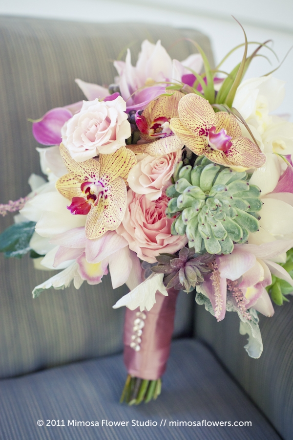 Pink Brides Bouquet with Hens 'n Chicks