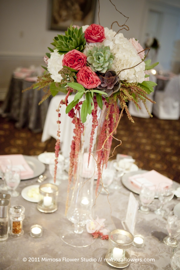 Tall Wedding Reception Centrepiece on Glass