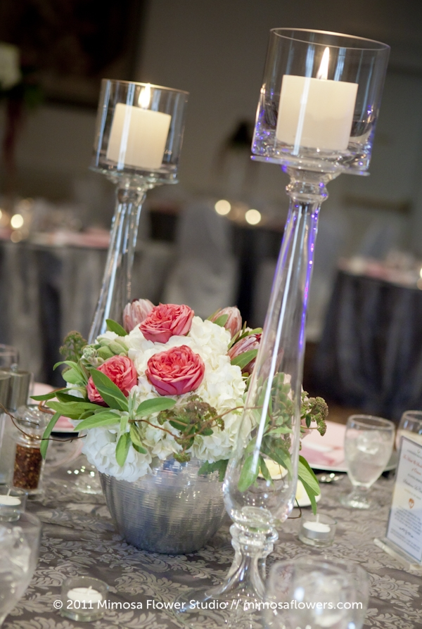 Wedding Reception Centrepiece with Glass Candlesticks