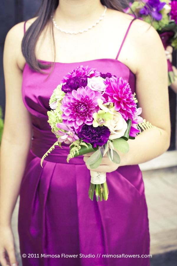 Purple + Pink Bridesmaid's Bouquet and Dress
