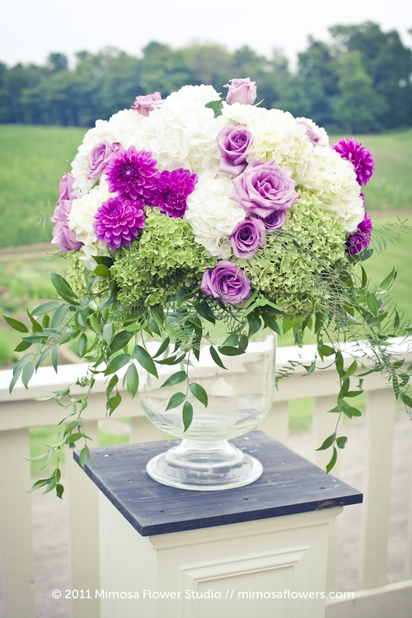 Outdoor Wedding Flowers at Vineland Estates Winery on the Deck