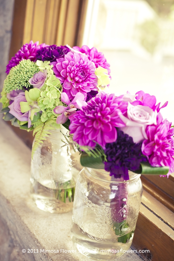 Purple and Pink Wedding Party Floral Bouquets