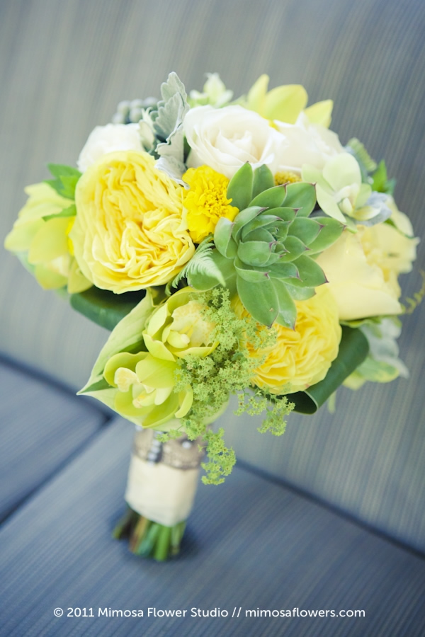Yellow and Green Bride's Bouquet