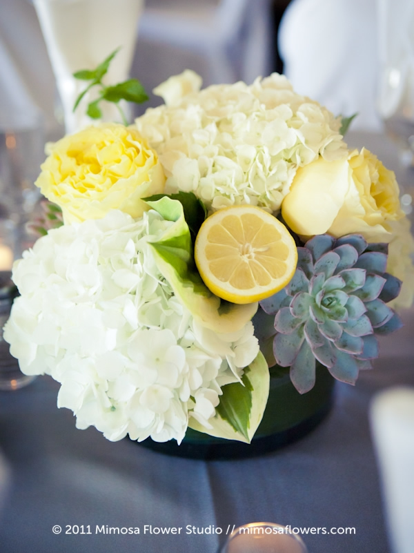 Full floral wedding centrepiece with succulent 2