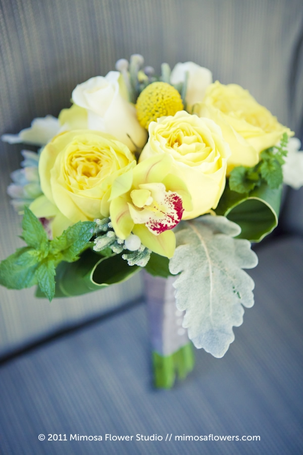Yellow and Green Bridesmaid's Bouquet