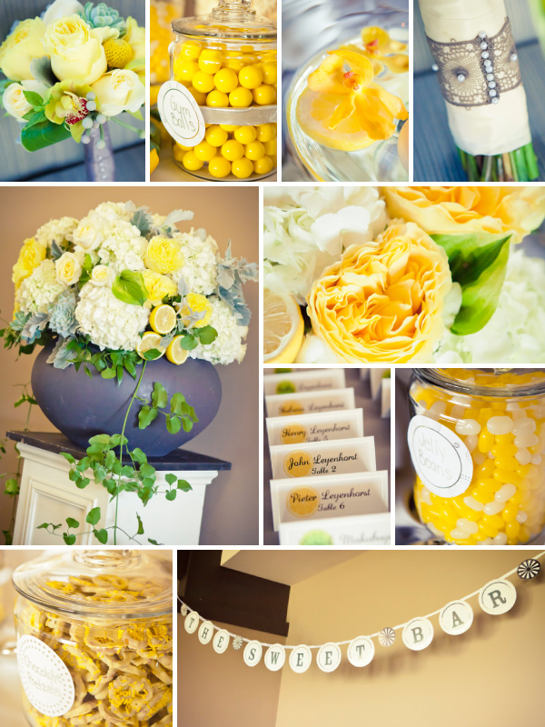 Collage featuring yellow, grey and green color palette