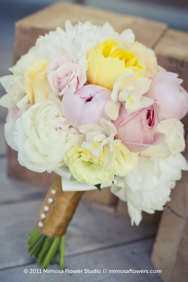 Yellow and Pink Bride's Bouquet